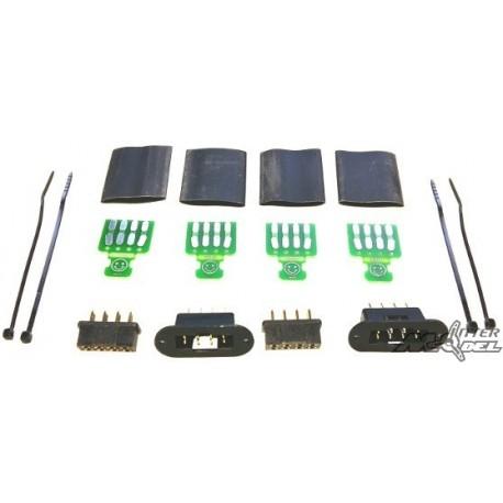 CONNECTEURS D'AILES 8 PINS AV PCB ET GAINE THERMO (2 paires) EMCOTEC
