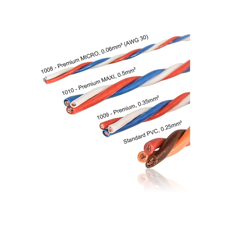Cable Servo Torsade Premium Micro 0 06mm U00b2 1m Powerbox