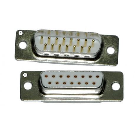 Connecteur D-sub 15 broches, fiche et prise