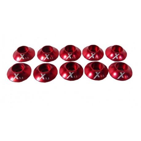 Rondelles anodisées rouge 3mm (X10) Extreme Flight
