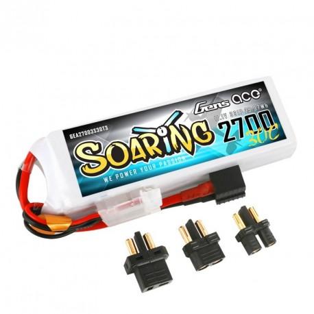 Accu LiPo GENS ACE SOARING 2700mAh 11.1V 30C 3S (EC3/XT60/T-Plug)